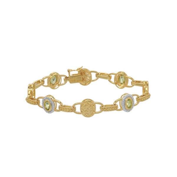 Gold-plated Silver 1.70-carat Peridot Bracelet