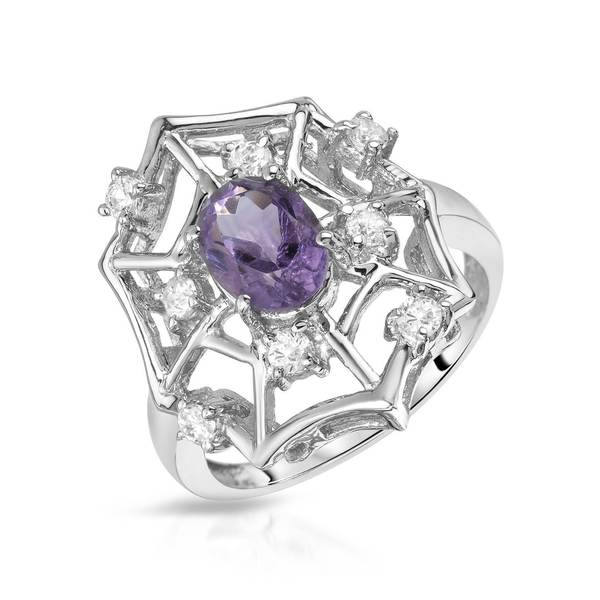 Sterling Silver 1 1/5ct TW Amethyst Ring (Size 8)
