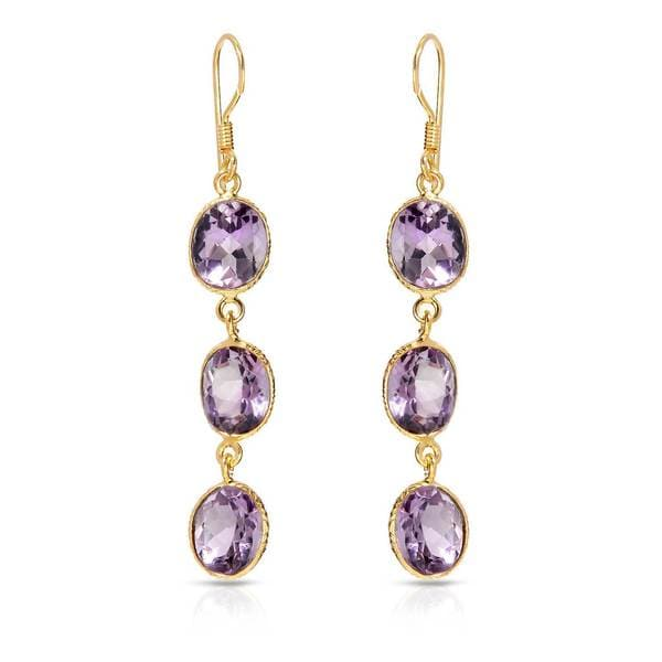 Gold over Silver 14ct TW Amethyst Earrings