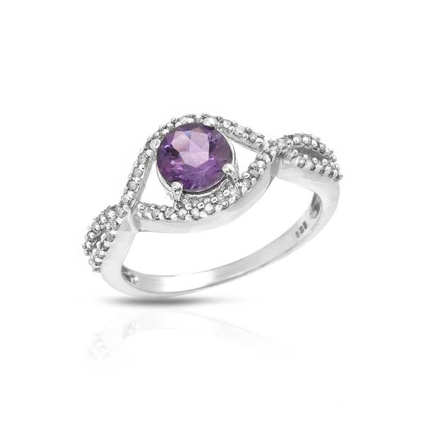Sterling Silver 1 1/5ct TW Amethyst Ring (Size 6)