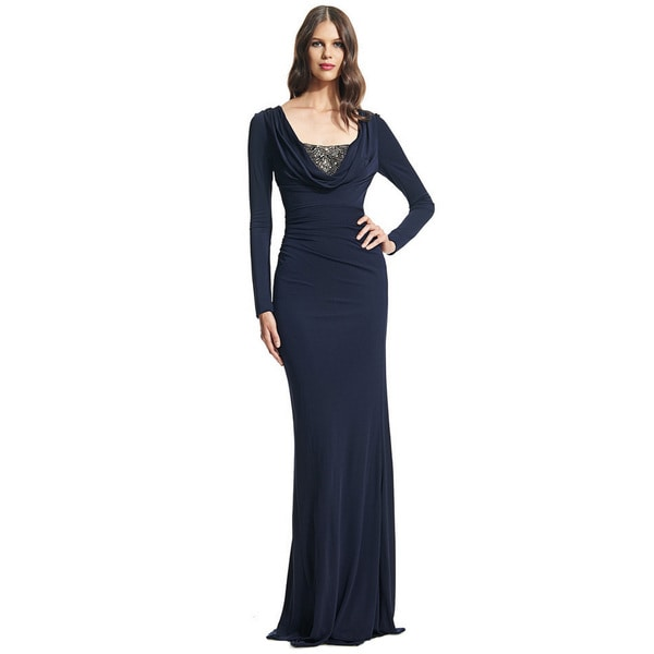 David Meister Long Sleeve Matte Jersey Beaded Evening Gown Size 14(As Is Item)