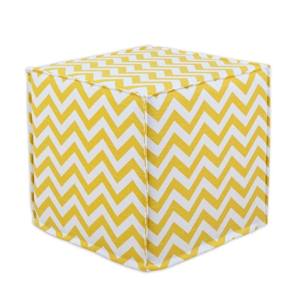 Zig Zag Corn Yellow 12.5-inch Square Seamed Foam Ottoman