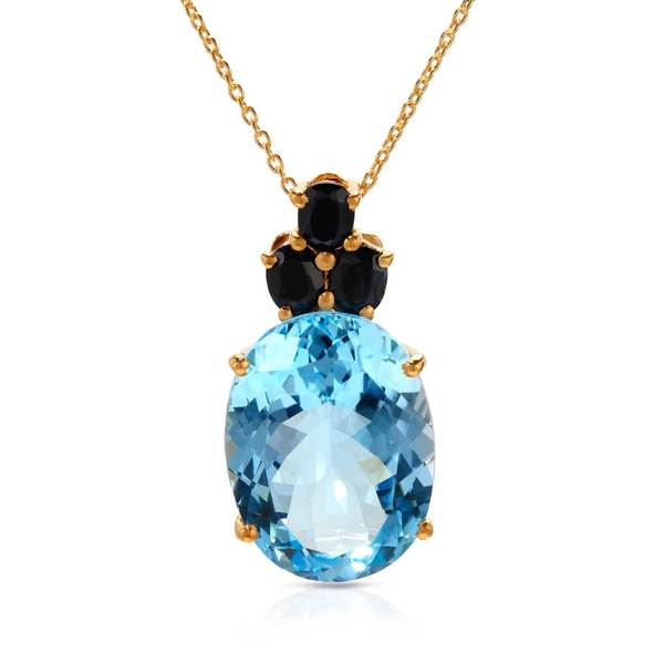Gold over Silver 21 7/8ct TW Sapphire Necklace