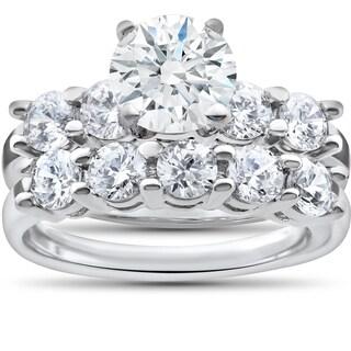 14k White Gold 2 1/2ct TDW Diamond Clarity Enhanced Five Stone Wedding & Engagement Ring Set (I-J,I2-I3)