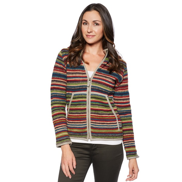 Laundromat Women's Geneva Striped Full-zip Hooded Sweater