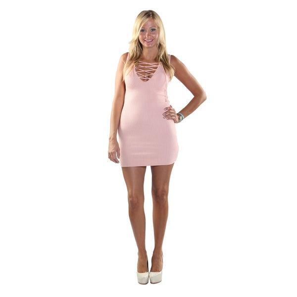 Hadari Women Sleeveless V-Neck Short Dress