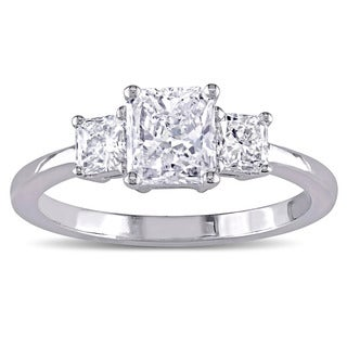 Miadora Signature Collection 18k White Gold 1 1/8ct TDW Certified 3-Stone Radiant Shape Diamond Engagement Ring (G-H, I1) (IGI)