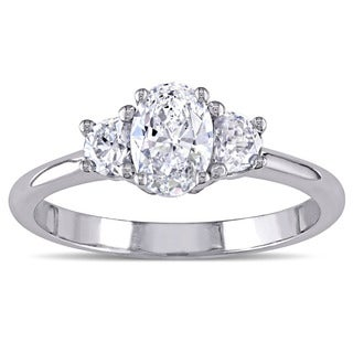 Miadora Signature Collection 18k White Gold 3/4ct TDW Certified 3-Stone Oval and Half Moon Shape Diamond Ring (F-G, SI) (IGI)