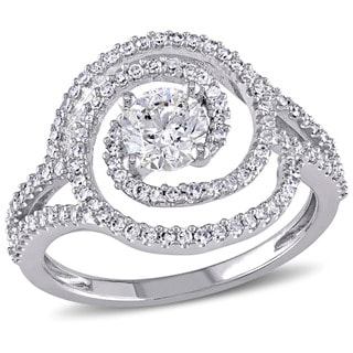 Miadora Signature Collection 10k White Gold 1ct TDW Diamond Swirl Split Shank Ring (G-HI, I1-I2)