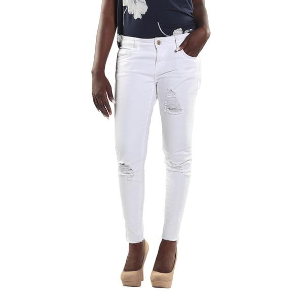 Hadari Women Ripped Skinny Jeans
