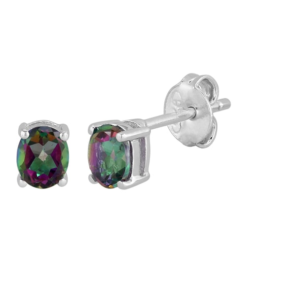 Sterling Silver Oval Mystic Topaz Stud Earrings