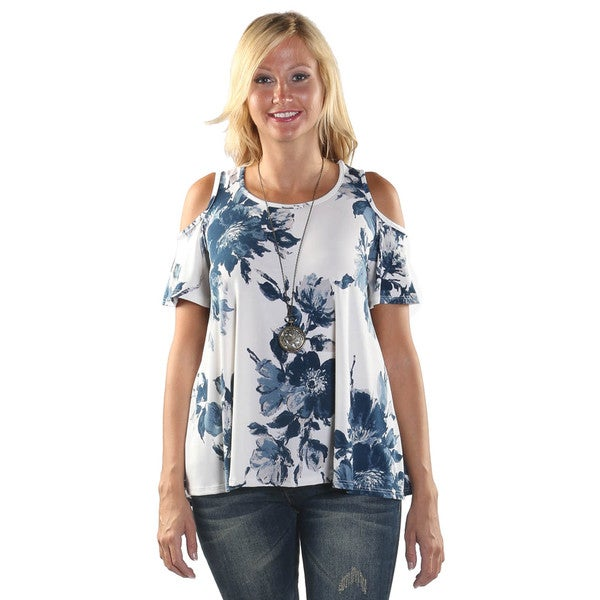 Hadari Women Open Shoulder Round Neck Floral Shirt