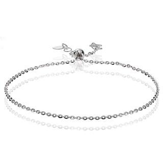 Mondevio 14k White Gold 1.4mm Diamond-Cut Cable Adjustable Italian Chain Bracelet, 7-9 Inches