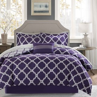 Madison Park Essentials Reversible Concord Purple/ Grey Complete Bed and Sheet Set