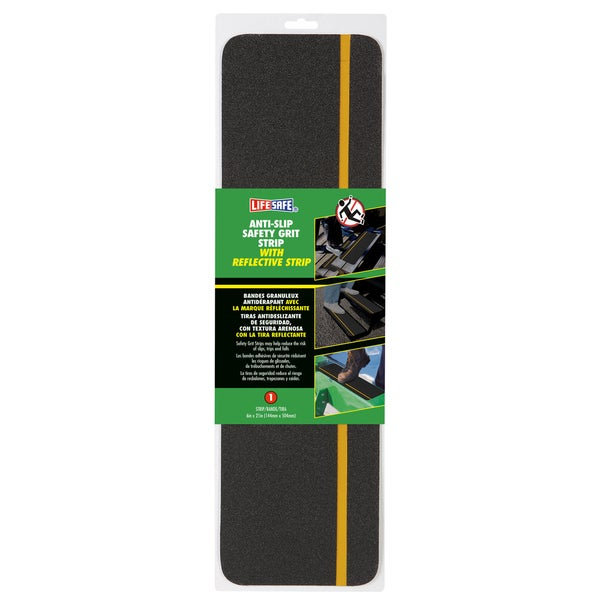 """Incom RE631RS 6"""" X 21"""" Reflective Yellow & Black Anti Slip Safety Tape"""