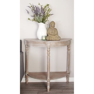 Rustic 32 x 32 Inch Wooden Half Round Console Table by Studio 350