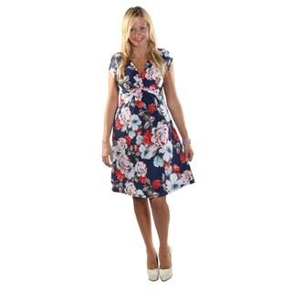 Hadari Women Cap Sleeve V-Neck Knee Length Floral A-Line Dress