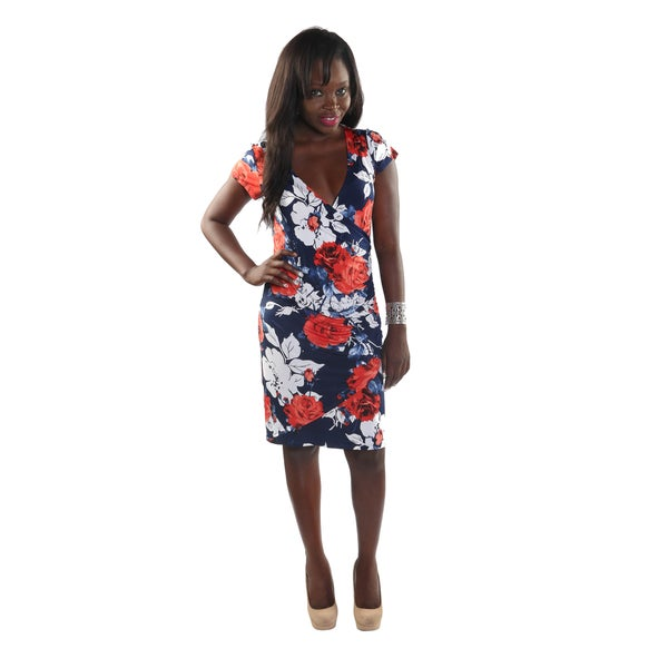 Hadari Women Short Sleeve V-Neck Floral Sheat Dress