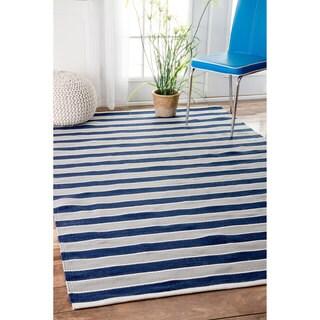 nuLOOM Handmade Indoor/ Outdoor Flatweave Resort Stripes Blue Rug (5' x 8')