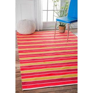 nuLOOM Handmade Indoor/ Outdoor Flatweave Resort Stripes Orange Rug (5' x 8')