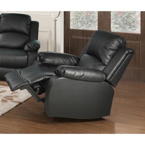 Farah Black Bonded Leather Reclining Chair