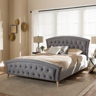 Baxton Studio Doros Grey Velvet Platform Bed