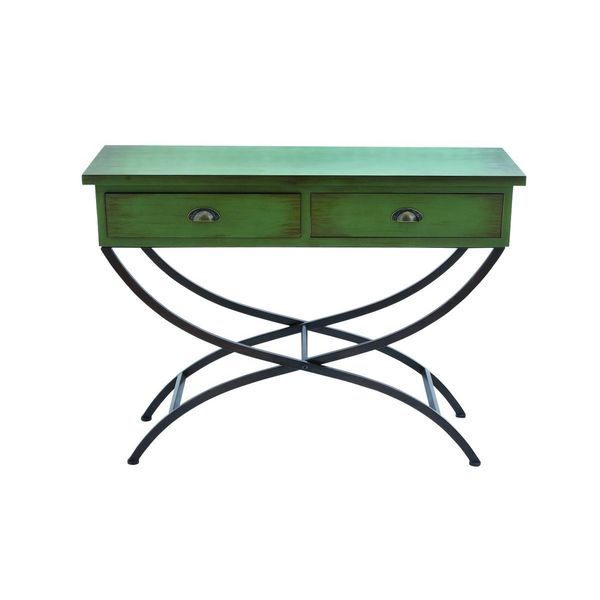 Metal wood green console table 43 inches wide x 33 inches for 10 inch wide console table