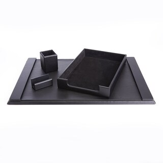 Royce Luxury Genuine Leather Suede-lined Desk Set with Pen Cup Organizer, Letter Tray, Blotter and Business Card Holder