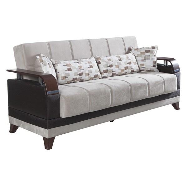 Natura Beige Microfiber Convertible Sofa Bed