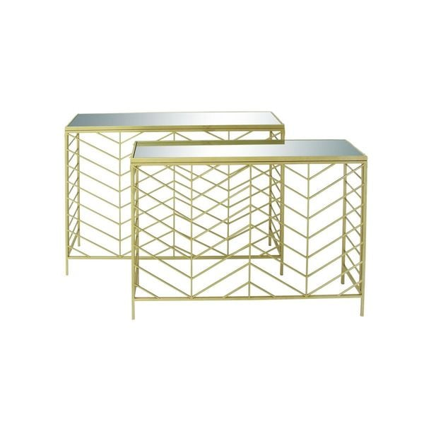 Metal Glass Console Table (Set of 2)