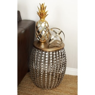 Contemporary 19 Inch Barrel-Style Beaded Accent Table by Studio 350