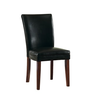 Coaster Black Upholstery Cherry Finish Parson Chair