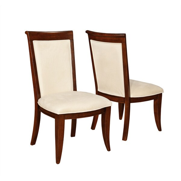 Traditional Brown and Cream Cushioned Side Chair