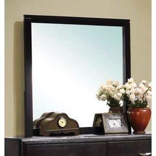 Nacey Collection Brown Wood Square Wall Mirror