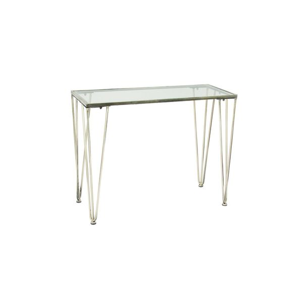 Metal Glass Silver Console Table 39 Inches Wide X 31