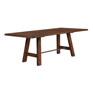 Wire Brushed Solid Wood Extending Dining Table In Brick