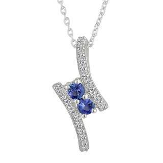 Sterling Silver Round Blue Sapphire and White Topaz Pendant Necklace