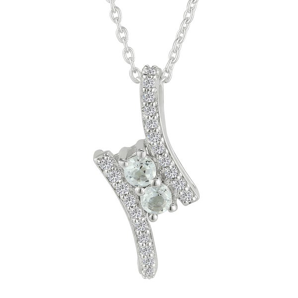 Sterling Silver Round White Topaz Pendant Necklace