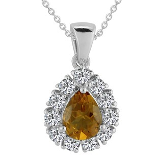 Sterling Silver Pear Citrine and White Topaz Pendant Necklace