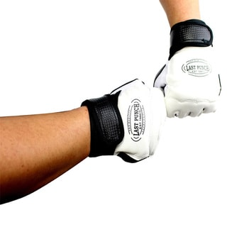 Pro Style Artificial Leather Black/White All-size Fingerless Boxing Fighting MMA Training Gloves