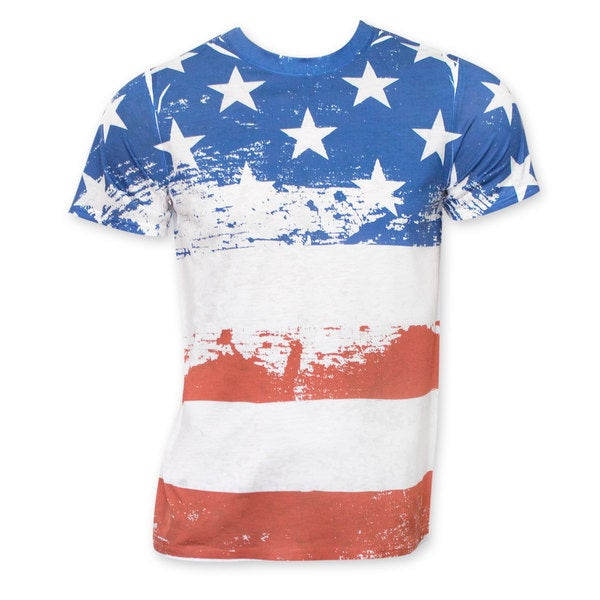 Stars And Stripes American Flag Polyester Distressed Sublimation T-Shirt