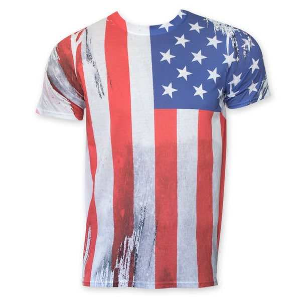 American Flag Vertical Sublimation Print T-shirt