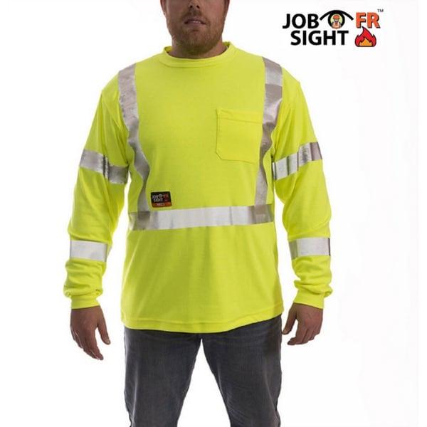 Job Sight S85522 Class 3 Flame Resistant Long Sleeve T-Shirt Fluorescent Yellow/Green
