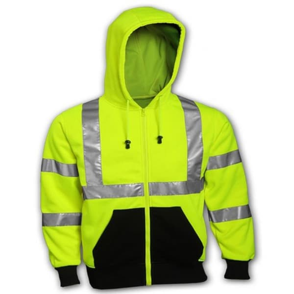 Fluorescent Yellow-Green Hooded Safety Sweatshirt