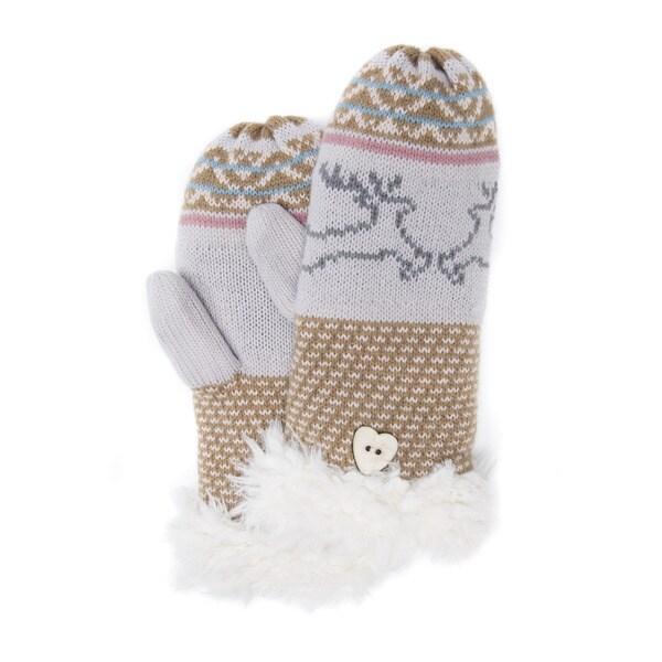 Muk Luks Women's Acrylic/ Polyester Faux Fur Reindeer Mittens