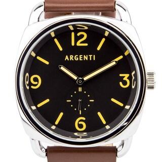 Argenti da Vinci Men's Classic Italian Military Design Watch, Cushion Shaped Case, Strong Luminescence, Genuine Leather