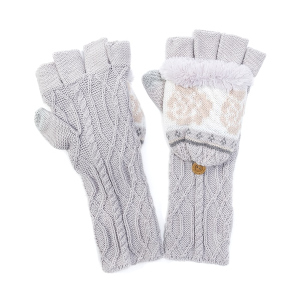 Muk Luks Women's Acrylic/ Polyester Faux Fur Cottage Rose Long Flip Mittens