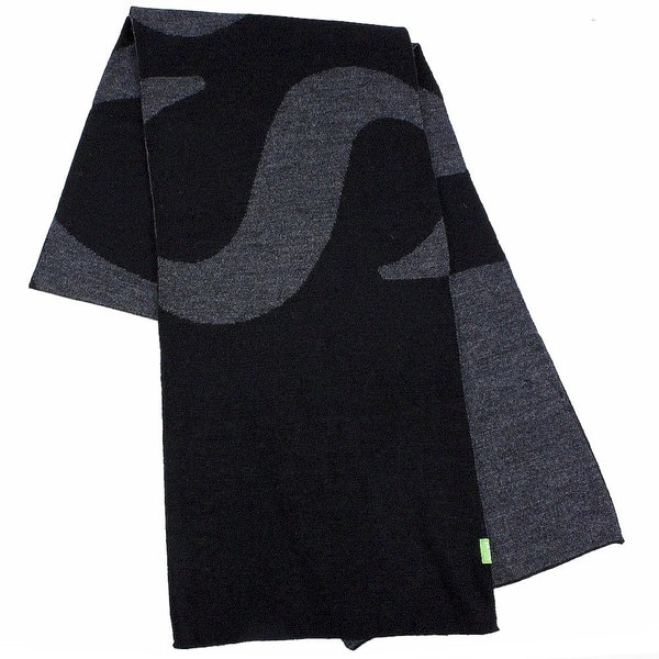 Hugo Boss Knitties Black And Grey Logo Scarf