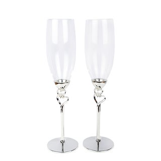 Double Hearts Toasting Flutes/Champagne Glasses