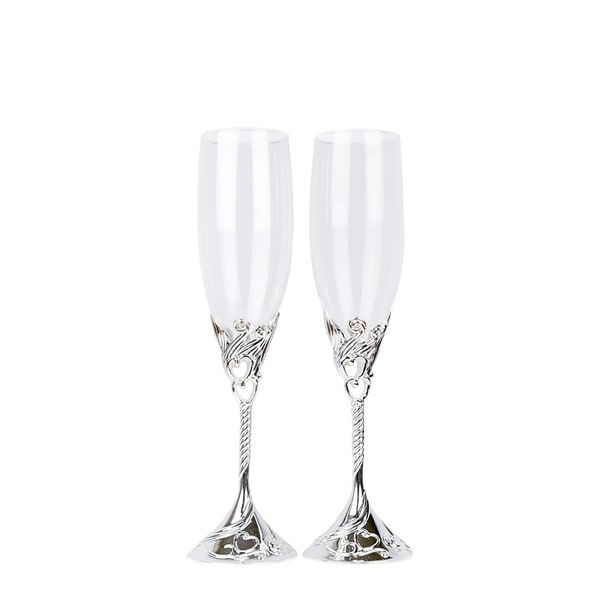 Hearts Wedding Toasting Flutes/Champagne Glasses